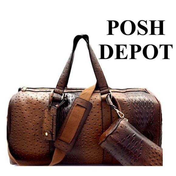 5ddadae40069 Posh Depot Bags | Faux Leather Ostrich Print Travel Bagcoffee | Poshmark